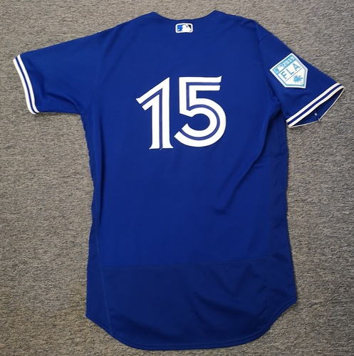 Photo of Authenticated Game Used 2019 Spring Training Jersey - #15 Randal Grichuk (Mar 26: 0-for-3). Size 44