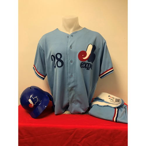 Photo of Kurt Suzuki Expos Gear: Game-Used Jersey, Game-Used Pants, and Game-Used Batting Helmet