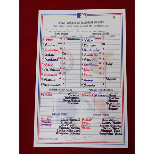 Photo of Game-Used Lineup Card - 9/7/19 @ BAL