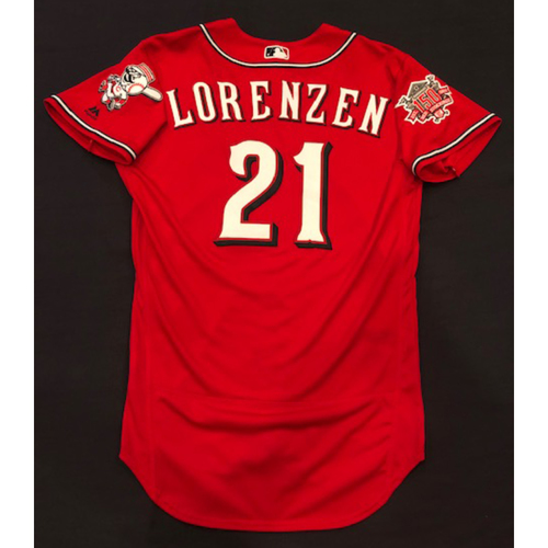 "Photo of Michael Lorenzen -- Game-Used ""Los Rojos"" Jersey (Relief Pitcher: 0.2 IP, 1 K) -- D-backs vs. Reds on 9/6/19 -- Jersey Size 42"