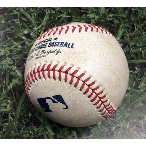 Photo of Game-Used Baseball ARI@MIL 08/25/19 - Robbie Ray - Christian Yelich: Single