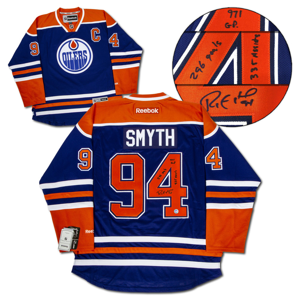 Ryan Smyth Edmonton Oilers Signed Career Stats Final Game Reebok Hockey Jersey