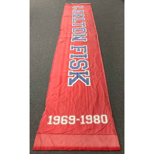 "Photo of Carlton Fisk Team Issued Fenway Park Red Street Banner (34""x168"")"