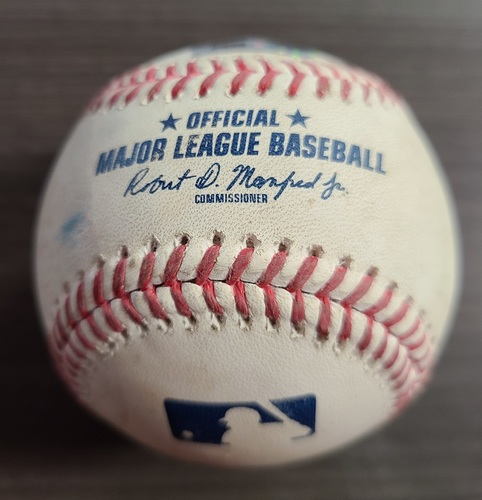 Photo of Authenticated Game Used Baseball: Foul by Jonathan Villar against Tom Eshelman (Sep 25, 2020 vs BAL). Bottom 3. Game played in Buffalo. 1st Career Win Game for Nate Pearson.