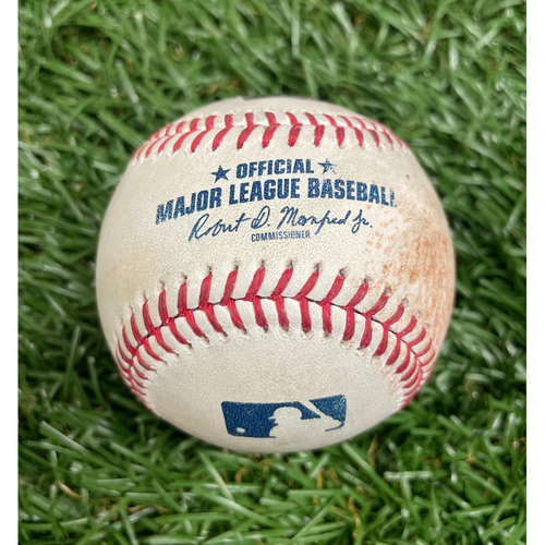 Photo of Game Used Baseball: Whit Merrifield single off Rich Hill - Top 6 - May 25, 2021 v KC