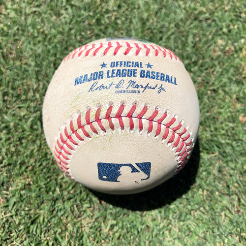 Photo of NYM @ SD - 6/5/2021 - Eric Hosmer Singles off of Jacob deGrom on a Line Drive to left fielder Dominic Smith moving Jake Cronenworth to 3rd  and Fernando Tatis Jr. to 2nd - Game-Used Baseball