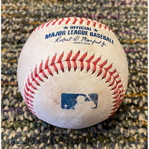 Photo of 2021 Game Used Baseball used on 8/1 - T-6: Logan Webb to Yuli Gurriel - Ground Out to 3rd Base (Kris Bryant Giants Debut)