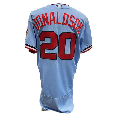 Photo of Minnesota Twins: 2021 Game-used Home Powder Blue Jersey - Josh Donaldson worn 4/24/2021 vs PIT going 0-3, 7/7/2021 vs CWS, and 7/10/2021 vs DET going 1-1, and 7/24/2021 vs LAA going 1-3 with 1 RBI.