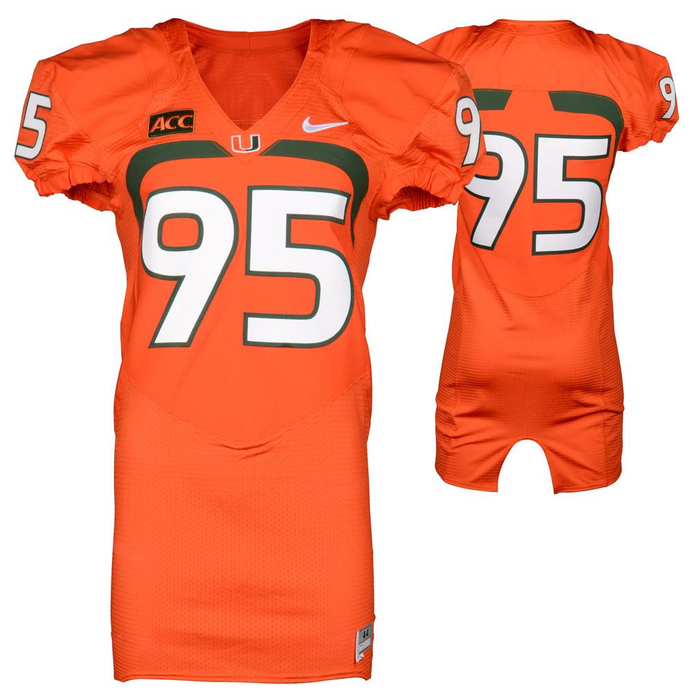 Miami Hurricanes Game-Used 2007 - 2013 Nike Orange Football Jersey #95