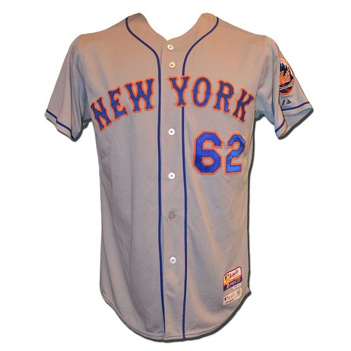 Photo of Erik Goeddel #62 - Game Used Road Grey Jersey - Mets vs. Phillies - 9/29/15