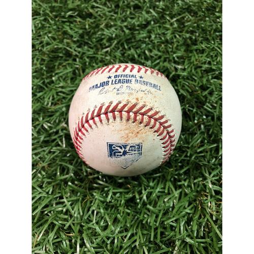 Photo of 20th Anniversary Game Used Baseball: Jose Ramirez RBI double off Jaleen Beeks - September 10, 2018 v CLE