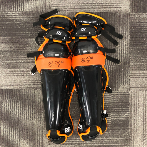 Photo of 2018 Holiday Deal! - Autographed Team Issued Shin Guards (Player Collected) - #28 Buster Posey
