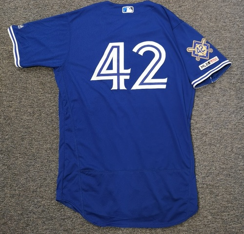 Photo of Charity Auction - Authenticated Game Used #42 Jersey - Elvis Luciano (April 15, 19). Size 44