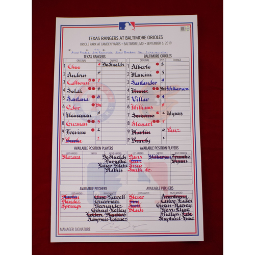 Photo of Game-Used Lineup Card - 9/6/19 @ BAL