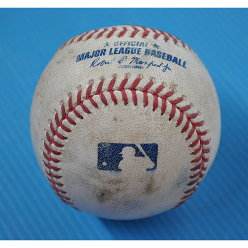 Photo of Game-Used Baseball - 2020 NLDS - San Diego Padres vs. Los Angeles Dodgers - Game 1 - Pitchers: Mike Clevinger/Pierce Johnson, Batters: Cody Bellinger (Clevinger; Walk), A.J. Pollock (Johnson; Flyout to RF), Joc Pederson (Foul) - Bot 2