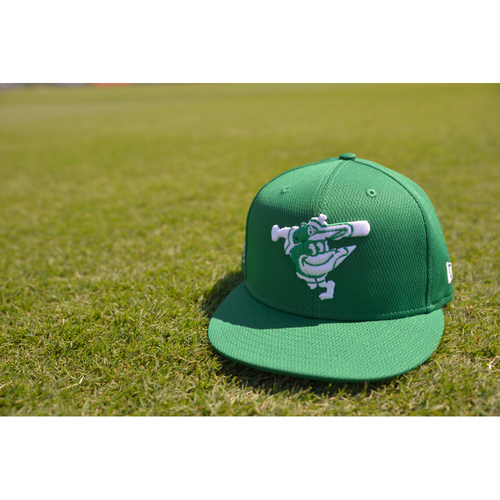 """Photo of Austin Hays Game-Worn """"Go Green"""" St. Patrick's Day Cap - March 17th 2021"""