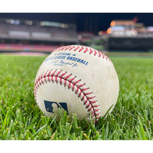 Photo of 2021 Opening Day Game-Used Ball -- *Mike Moustakas First AB of 2021* Jack Flaherty to Mike Moustakas (Foul) -- Bottom 2 -- Cardinals vs. Reds on 4/1/21