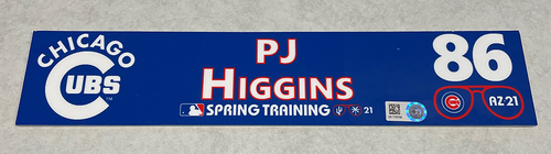 Photo of PJ Higgins 2021 Spring Training Locker Nameplate