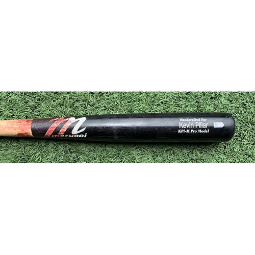 Photo of Kevin Pillar #11 - Game Used Cracked Bat - Black and Beige Marucci Model - Merrill Kelly to Kevin Pillar - Foul Ball - 2nd Inning - Mets vs. Diamondbacks - 5/8/21