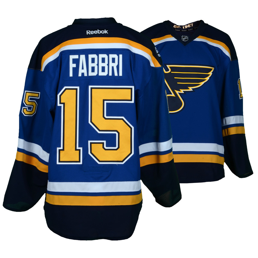 Robby Fabbri St. Louis Blues Game-Used Home Set 3 Jersey - Worn From January 17, 2017 Through March 10, 2017