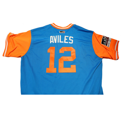"Photo of Mike ""Aviles"" Aviles Miami Marlins 2017 Game-Used Players Weekend Jersey"