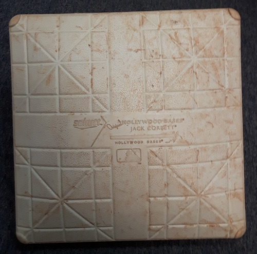 Photo of Authenticated Game Used Base - September 22 and 23, 2017. 1st Base for Innings 7 to 9. Yankees clinched Postseason Berth on September 23.