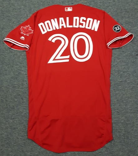 Photo of Authenticated Team Issued 2018 Canada Day Jersey - #20 Josh Donaldson (July 1, 2018). Size 44.