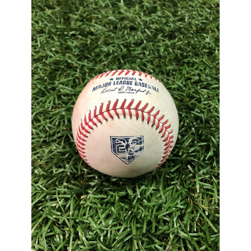 Photo of 20th Anniversary Game Used Baseball: Corey Kluber strikesout C.J. Cron and Joey Wendle triples off Corey Kluber - September 10, 2018 v CLE