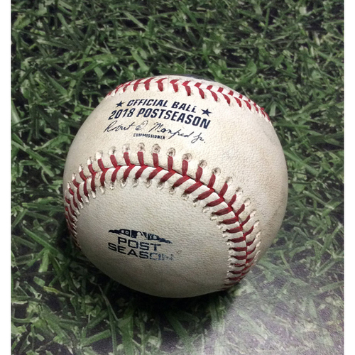 Photo of Game-Used Baseball NLCS Game 1 LAD@MIL 10/12/18 - Pedro Baez - Josh Hader: Foul