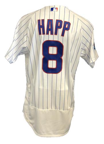 Photo of Ian Happ Game-Used Jersey -- Rockies vs. Cubs -- 10/2/18 -- 2018 Postseason Wild Card