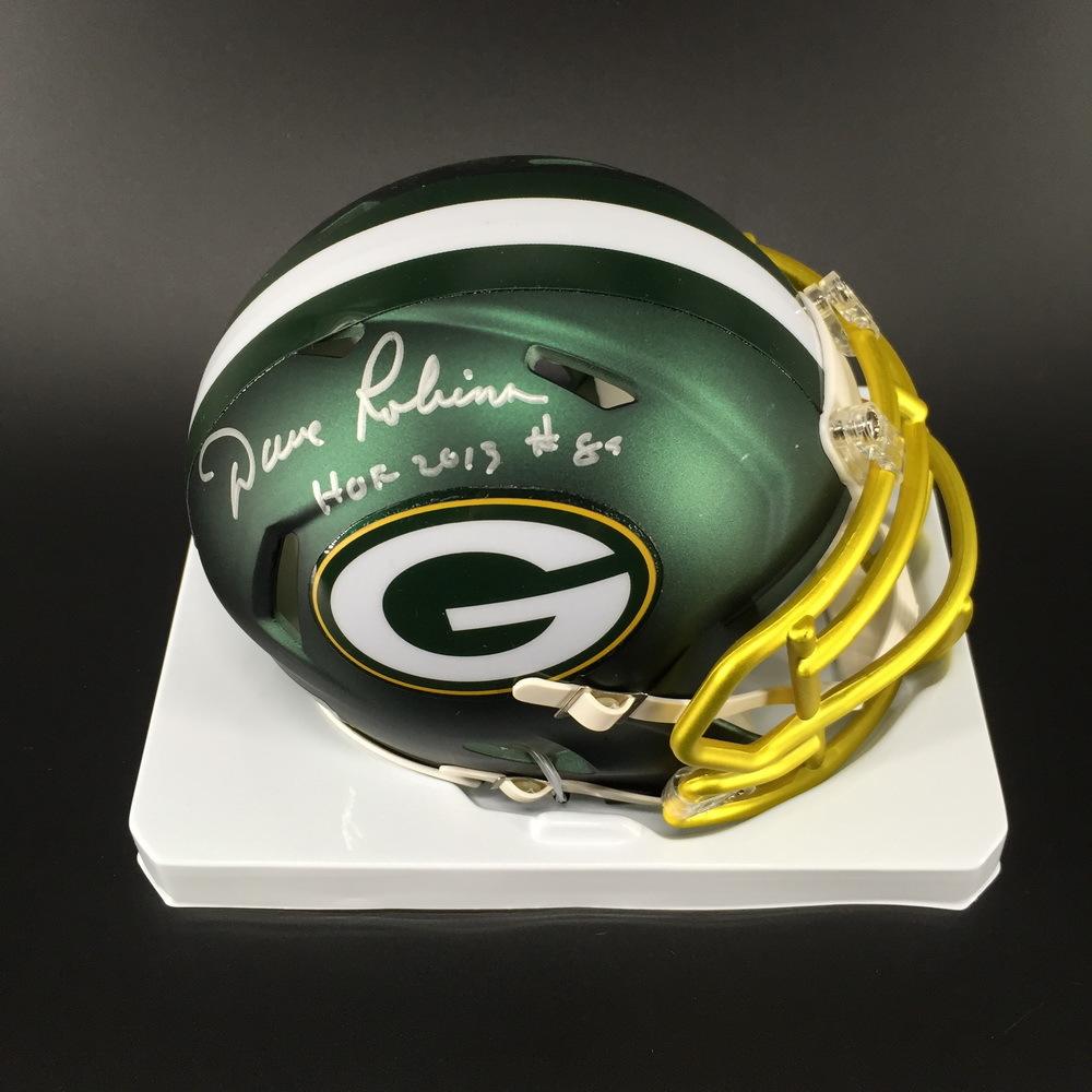 HOF - Packers Dave Robinson Signed Blaze Speed Mini Helmet