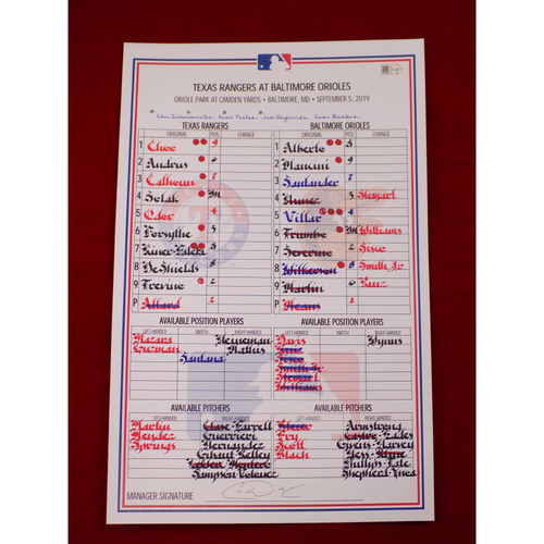 Photo of Game-Used Lineup Card - 9/5/19 @ BAL
