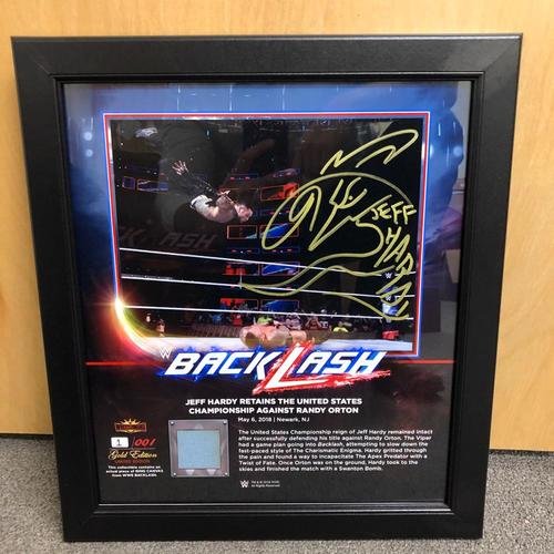 Photo of Jeff Hardy SIGNED BackLash 2018 Gold Edition Ring Canvas Plaque (#1 of 1)