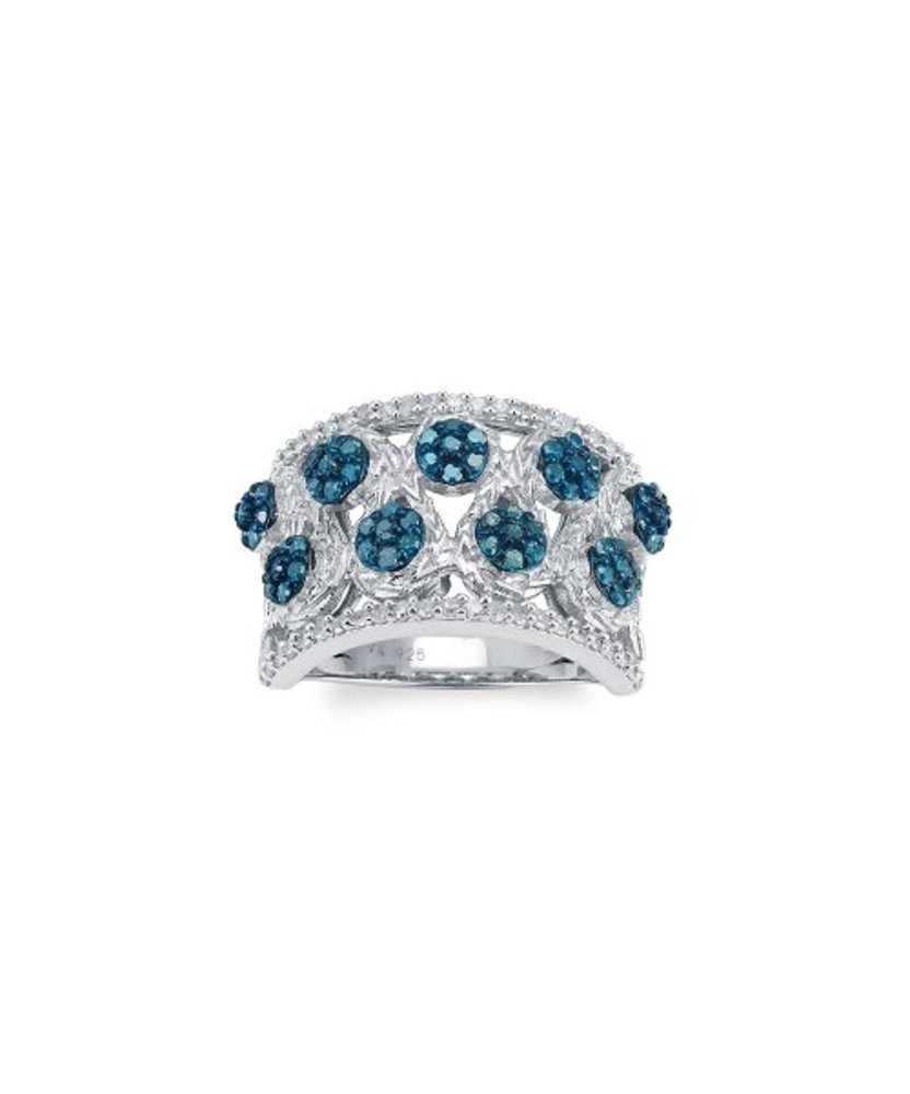 Photo of 1-Carat Blue & White Diamond Wide Two-Layer Ring