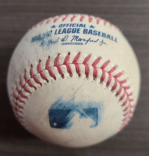 Photo of Authenticated Game Used Baseball: Foul by Ryan Mountcastle against Shun Yamaguchi (Sep 25, 2020 vs BAL). Top 6. Game played in Buffalo. 1st Career Win Game for Nate Pearson.