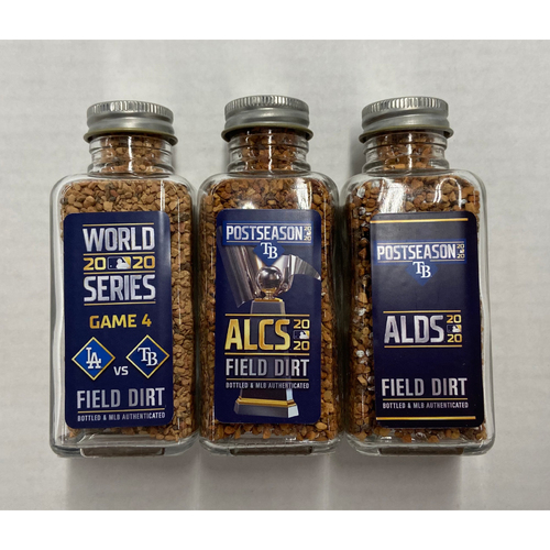 Photo of 2020 Tampa Bay Rays Postseason Game-Used Dirt Jar Bundle - Division Series Clinch, Championship Series Clinch, World Series Game 4