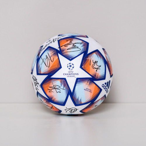 Photo of 20/21 Champions League Ball signed by the Olympique de Marseille Team