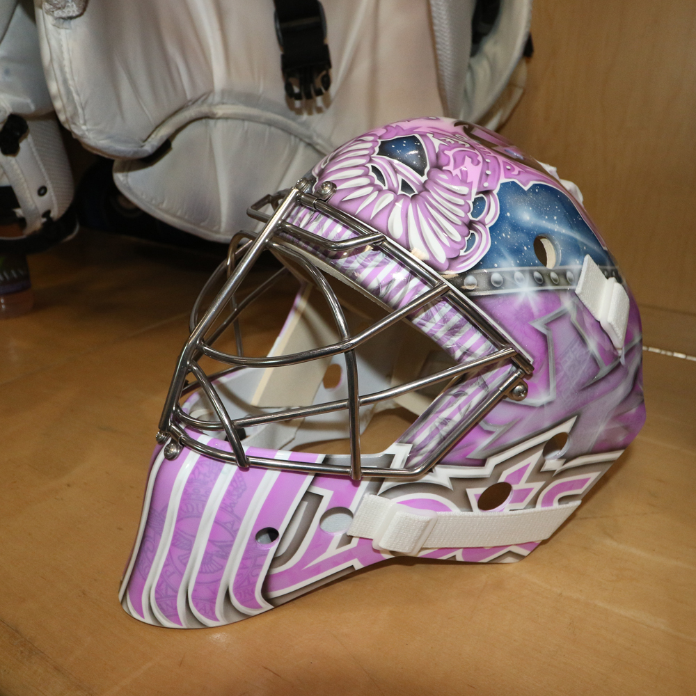 CONNOR HELLEBUYCK Game Worn Autographed Hockey Fights Cancer Mask