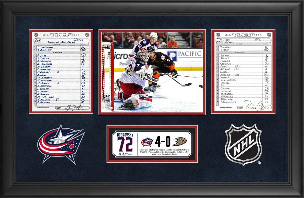 Columbus Blue Jackets Framed Original Line-Up Cards From October 28, 2016 vs. Anaheim Ducks - Sergei Bobrovsky's 35-Save Shutout