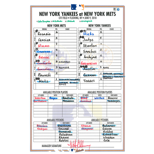 Photo of Game Used Lineup Card - Subway Series - Matz Start; 6 IP, 3 ER, 6 K's; Frazier HR (6), Cabrera HR (11), Gleyber Torres and Aaron Judge HR's - Mets vs. Yankees - 6/9/18