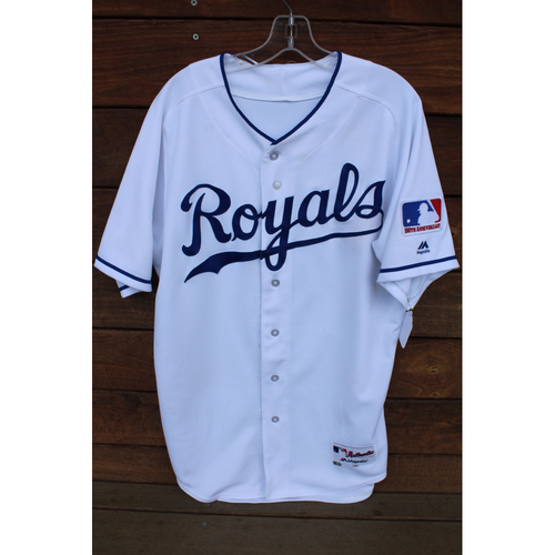 Photo of Game-Used 1969 Throwback Jersey: Ryan Goins 60th Career Double, 146th Career RBI, and 61st Career Double (Size 42 - NYY at KC - 5/19/18)