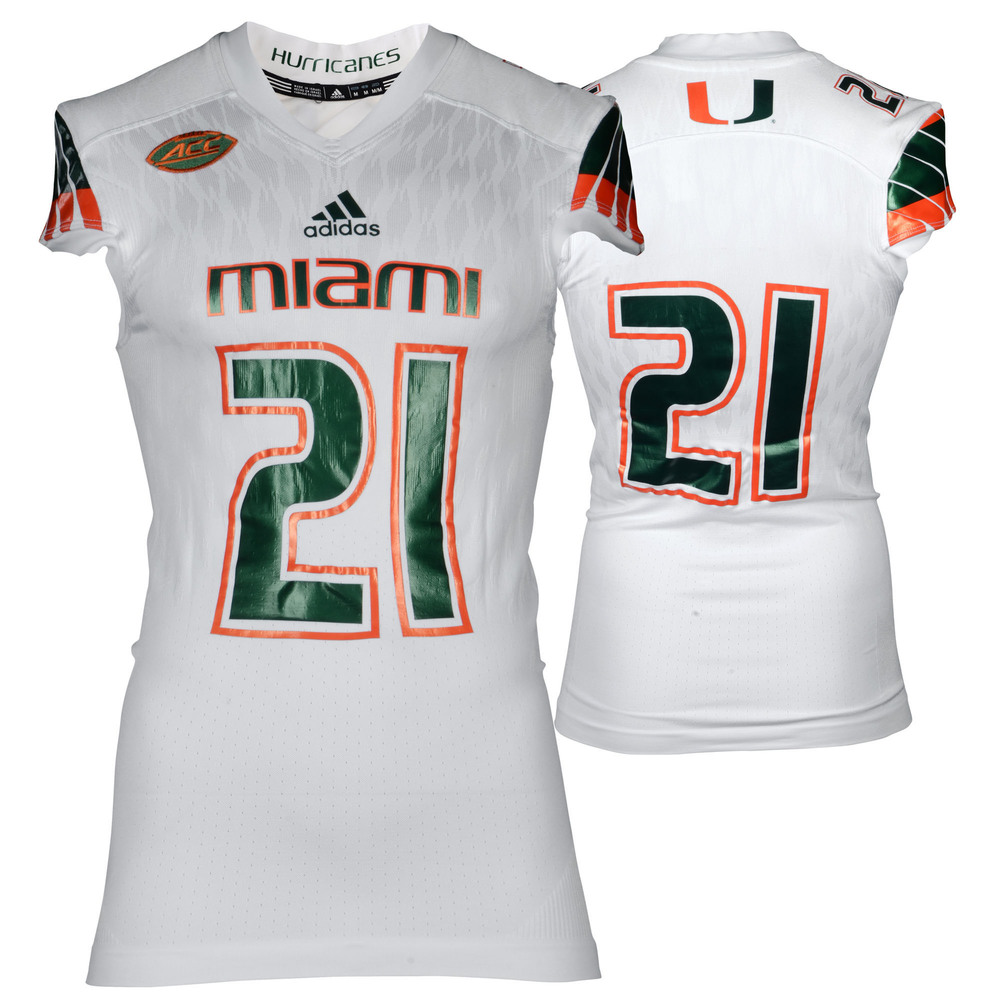 Miami Hurricanes Game-Used White #21 Adidas Football Jersey Used Between The 2015 and 2016 Seasons - Size Medium