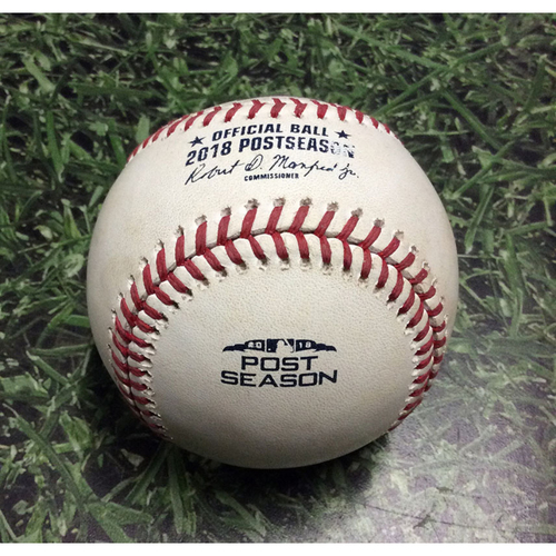 Photo of Game-Used Baseball NLCS Game 1 LAD@MIL 10/12/18 - Josh Hader - Manny Machado: Flyout