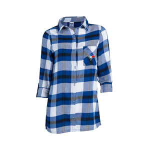 Toronto Blue Jays Women's Headway Flannel Nightshirt by Concepts Sport