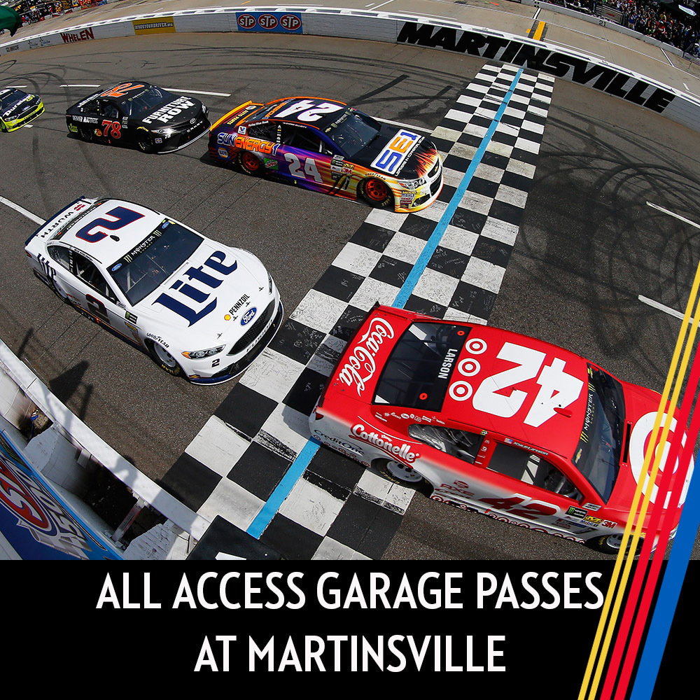 All Access Garage Passes at Martinsville for the entire race weekend!