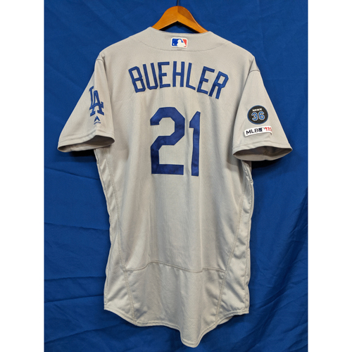 Walker Buehler Game-Used 7th Win 9 Strikeout Jersey