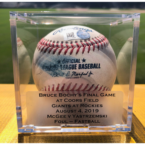 Photo of Colorado Rockies Game-Used Baseball (Bruce Bochy's Final Game at Coors Field) - Pitcher: Jake McGee, Batter: Mike Yastrzemski (Foul - Fastball) - August 4th, 2019 vs San Francisco Giants