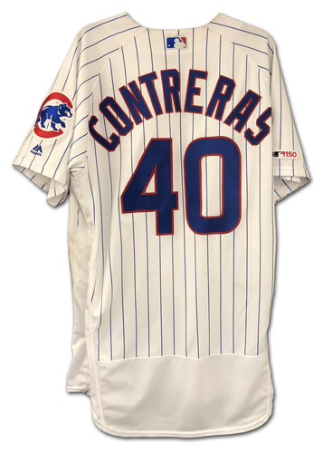 Photo of Willson Contreras Game-Used Jersey -- 2-3, 20th HR -- 9/3/19 -- Mariners vs. Cubs