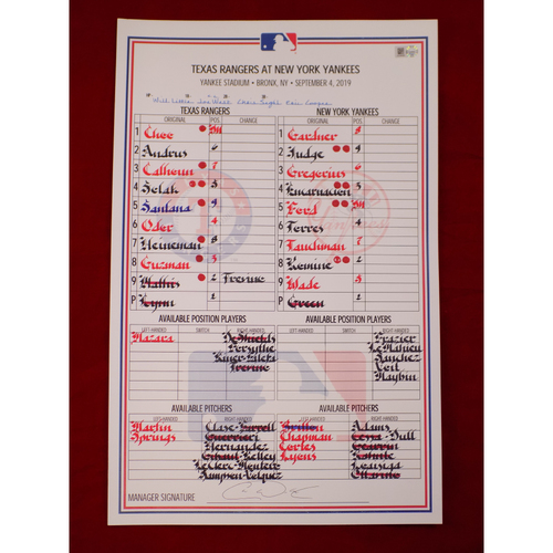 Photo of Game-Used Lineup Card - 9/4/19 @ NYY