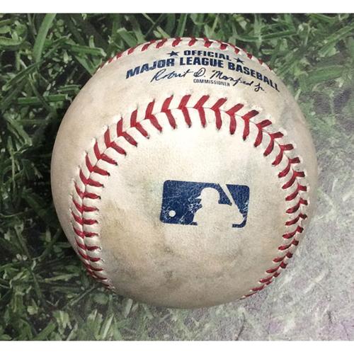 Photo of Game-Used Baseball STL@MIL 04/16/19 - Brandon Woodruff - Dexter Fowler: Strikeout